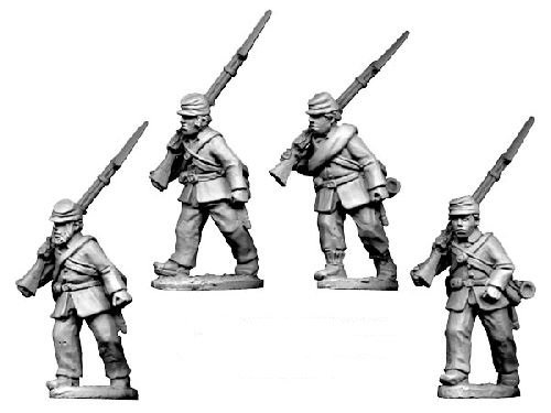ACW Infantry in Jacket and Kepi Marching