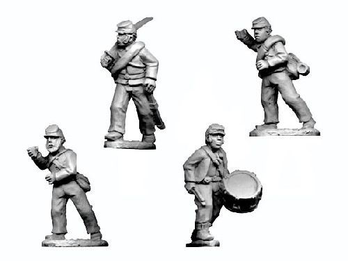 ACW Infantry Command in Shirt and Kepi Advancing