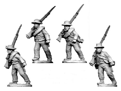 ACW Infantry in Shirt and Hat Marching