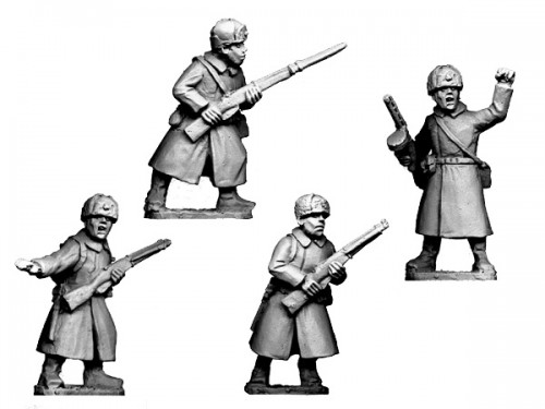 Russian Infantry Command in Coats and Fur Hats
