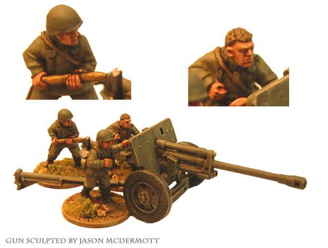 Russian 76mm A/T Gun & 3 Crew
